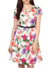 Floral Print Knee Length Crepe Dress - Paprika