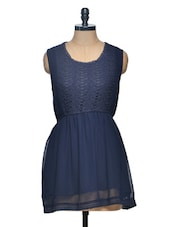 Navy Blue Mini Lace And Georgette Dress - Paprika
