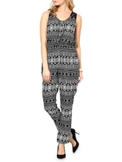 Printed Black & White Crepe Jumpsuit - Paprika