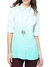 Checked White & Green Crepe Shirt - Paprika
