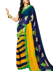 Multi Color Georgette Printed Saree - By