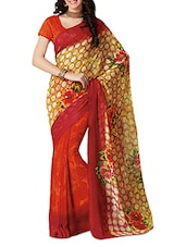 Red And Yellow Printed Silk Saree - By
