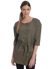 Solid Olive Drawstring Waist Coat - By