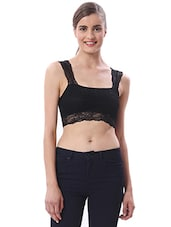 Black Lace Crop Top - By