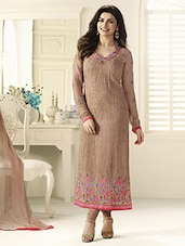 Peach Floral Embroidered Semi-stitched Georgette Suit Set - By