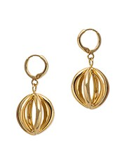 Metal Alloy Golden Cage Earrings - Swanvi