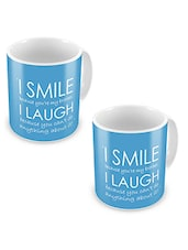 Blue Printed Ceramic Mug, 300 Ml (Set Of 2) - By