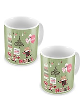 Green Printed Ceramic Coffee Mugs (Set Of 2) - By