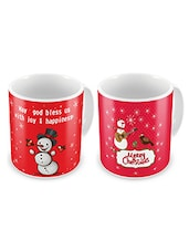 Red Printed Ceramic Coffee Mugs (Set Of 2) - By - 9712485