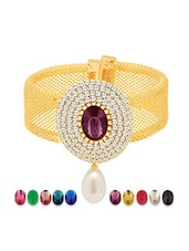 gold plated zircon kada with ten changeable stones -  online shopping for Bangles