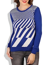 Blue And White Striped Cotton Sweater - By