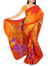 Yellow And Orange Floral Printed Georgette Saree - By