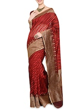 Red Jacquard Handloom Jute Net Saree - By