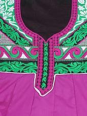Purple Embroidered Cotton Anarkali Salwar Suit - Surat Tex