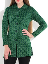 Peacock Green And Blue Printed Woolen Coat - By