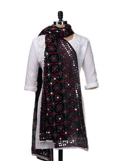 Black Handcrafted Dupatta - Vayana