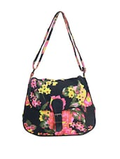 Black  Multi Colored Floral Sling Bag - Art Forte