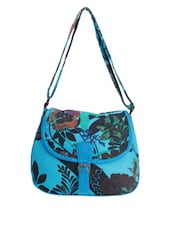 Blue Floral Printed Sling Bag - Art Forte