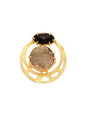 Stone Encrusted Gold Plated Brass Ring - By