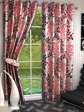 Set Of 2 Peach And Maroon Printed Long Door Curtains - By