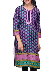 Three Quarter Sleeved Printed Cotton Kurti - Diti - 972562