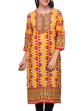 Three Quarter Sleeved Printed Cotton Kurti - Diti