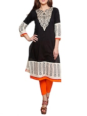 Black Printed Cotton Kurta With Embroidered Yoke - By