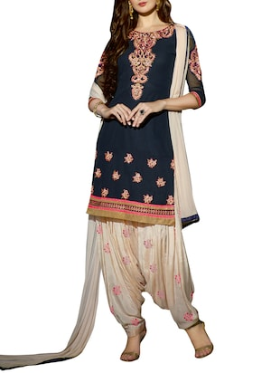 Blue and cream embroidered unstitched suit set -  online shopping for Unstitched Suits