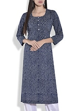 Indigo cotton block printed kurta -  online shopping for kurtas