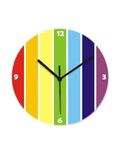 Yellow With Blue And Red Stripes Wall Clock - Krayons