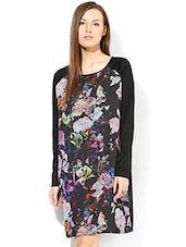 Black Abstract Printed Full Sleeved Dress - By