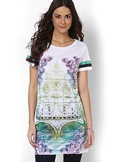 White Landscape Printed Long Top - By