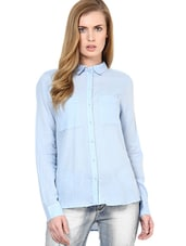 Solid Light Blue Cotton Full Sleeved Shirt - By