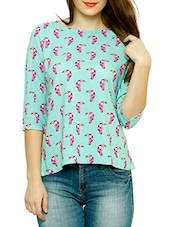 Sky Blue Printed Top With Overlapped Back - By