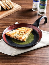 Black And Red Ceramic Studio Pizza Pan Server - By