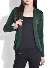 Solid Dark Green Acrylic Spandex Shrug - By