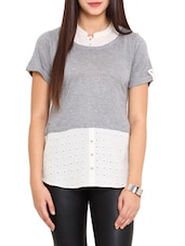 Grey And White Cotton Top - By