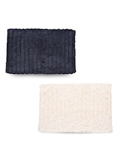 Set Of 2 Cream And Black Rectangular Ribbed Cotton Doormats - By
