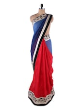 Blue And Red Georgette Saree - Kashish Lifestyle