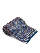 Grey And Blue Jaipuri Printed Cotton Double Bed Quilt - By