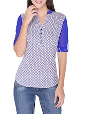 Blue And White Printed Cotton Top - By