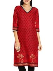 Red & Black Printed Cotton  Kurti - By