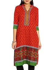 Orange & Red Printed Cotton  Kurti - By