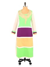 Full Sleeve Color Block Georgette Long Kurti - Fashion 205