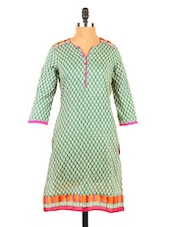 Green& Pink Quarter Sleeve Cotton Kurti - Fashion 205