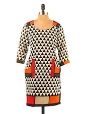 Black & Red Geometric Print Quarter Sleeve Kurti - Fashion 205