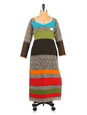 Color Block Geometric Print Full Sleeve Kurta - Fashion 205