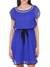 Royal Blue Georgette Dress With Embellished Neck - By