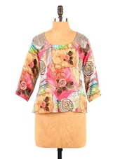 Graphic Print Quarter Sleeve Polycrepe Top - Fashion 205