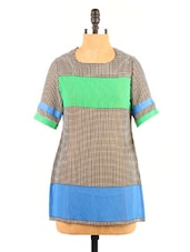 Color Block Short Sleeve Round Neck Top - Fashion 205